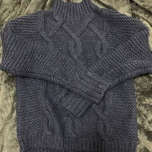 GAP Navy Mock Cable Knit Sweater